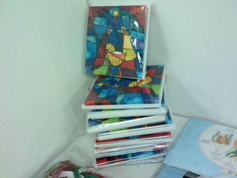 SMALL BOX OF ASSORTED HOMEWARE ITEMS TO INCLUDE CHRISTMAS CARDS, FABER CASTEL FELT TIPS, FINGERTIP PULSE OXIMETER