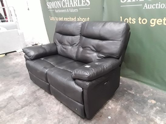 QUALITY CORSICA BLACK FAUX LEATHER POWER RECLINING TWO SEATER SOFA