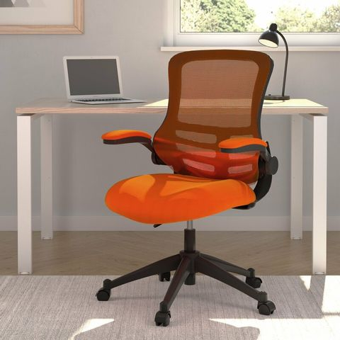 BOXED MARLOS MESH BACK OFFICE CHAIR WITH FOLDING ARMS ORANGE UPHOLSTERY