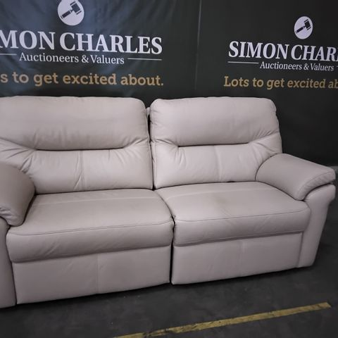 QUALITY G PLAN SEATTLE  STONE LEATHER THREE SEATER DOUBLE POWER RECLINING SOFA