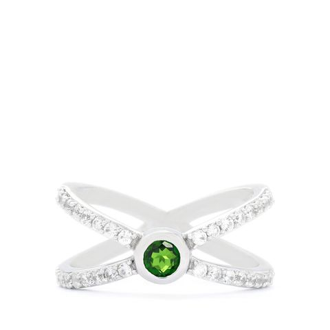 CHROME DIOPSIDE & WHITE ZIRCON STERLING SILVER RING ATGW 1CTS SIZE N TO O