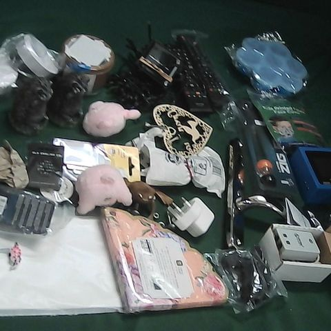 SMALL BOX OF ASSORTED ITEMS TO INCLUDE TV REMOTES, WINDOW/DOOR HANDLES, LED SOLAR LIGHTS