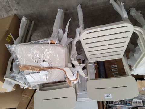 SET OF 4 SANTORIN ALUMINIUM CHAIRS WITH 2 SEAT PADS ONLY