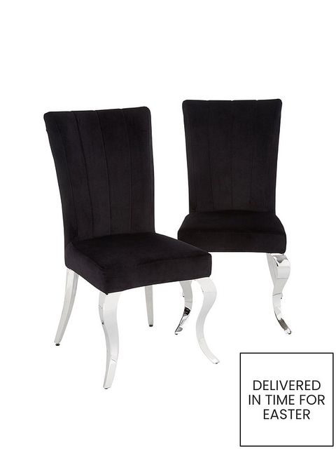BOXED GRADE 1 PAIR OF GRACE WHITE/CHROME DINING CHAIRS (1 BOX)