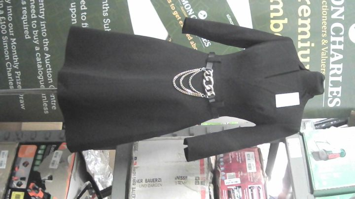 KAREN MILLEN BLACK DRESS WITH GOLD CHAIN BELT UK SIZE 6