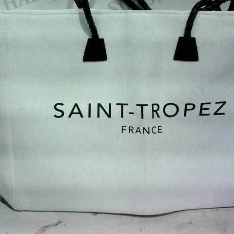 SAINT - TROPEZ FRANCE - OVERSIZED OFF WHITE BAG WITH BLACK LOOPED HANDLES