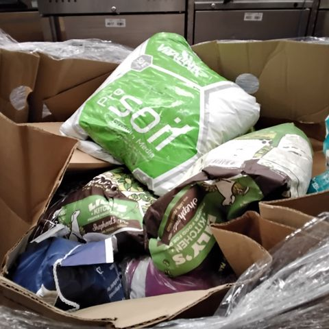 PALLET OF ASSORTED GARDEN/PET ITEMS INCLUDING SOIL, FEED, CAT LITTER AND DOG FOOD