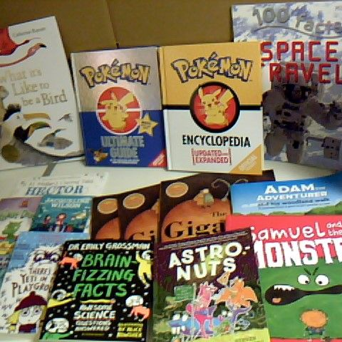 ASSORTMENT OF 16 CHILDRENS BOOKS INCLUDING POKEMON HARDBACK ULTIMATE GUIDE, THERES A YETI IN THE PLAYGROUND AND ASTRONUTS