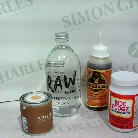 LOT OF APPROX. 22 ASSORTED ITEMS TO INCLUDE: MOD PODGE, GORILLA GLUE, RAW CLEANING VINEGAR