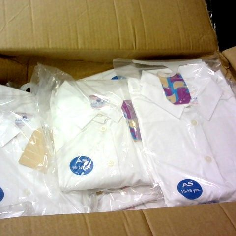 LOT 0F APPROXIMATELY 100 WHITE BOYS SHIRTS IN VARIOUS SIZES