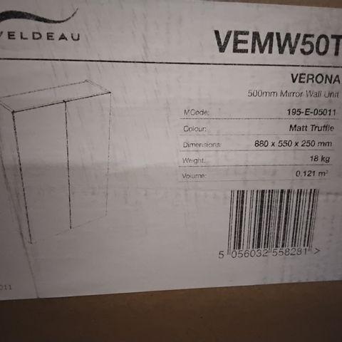 BOXED VELDEAU VERONA 50CM MIRROR WALL UNIT-MATT TRUFFLE