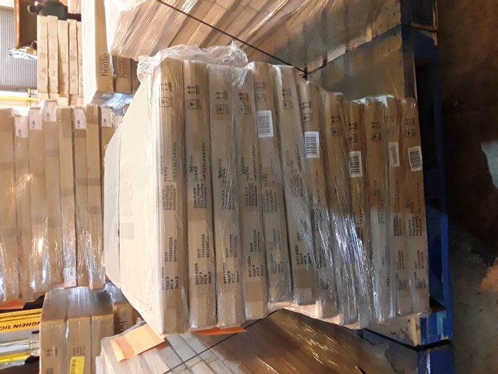 PALLET OF 12 BRAND NEW BOXED GEORGE HOME FINLEY DESK PARTS- BOXES 2 OF 2 ONLY