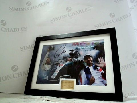 FRAMED LEWIS HAMILTON PICTURE WITH SIGNATURE