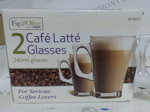FIG & OLIVE 2X CAFE LATTE GLASSES - 240ML GLASSES