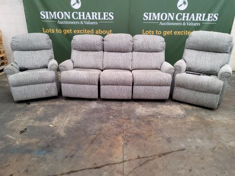 QUALITY G PLAN NEWBURY COPPICE ASH FABRIC RECLINING LOUNGE SUITE, COMPRISING, MANUAL THREE SEATER SOFA, POWER EASY CHAIR & POWER DUEL ELEVATE EASY CHAIR.