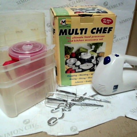 LOT OF APPROXIMATELY 8 ASSORTED KITCHENWARE ITEMS, TO INCLUDE FOOD PROCESSOR, MIXER & TUPPERWARE