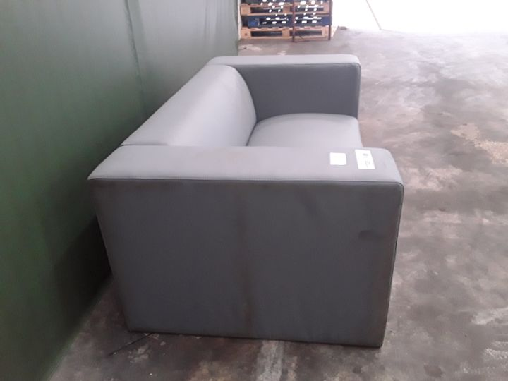 DESIGNER GREY FAUX LEATHER COMPACT MODULAR TWO SEATER SOFA