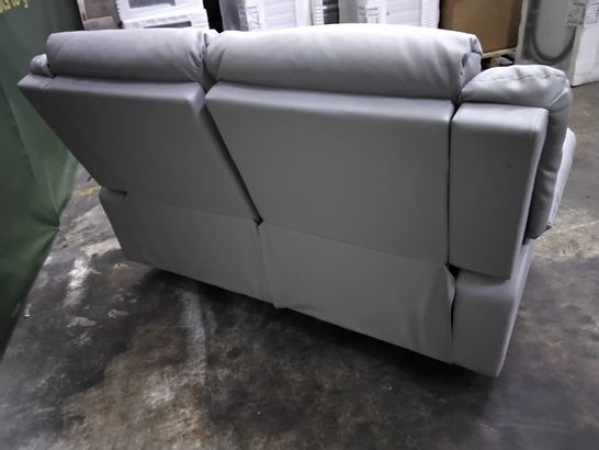 DESIGNER LIGHT GREY FAUX LEATHER MANUAL RECLINING TWO SEATER SOFA