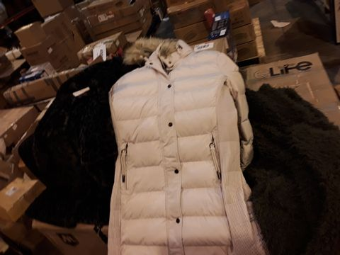 BOX OF APPROX 10 WOMENS COATS INCLUDING RINO & PELLE FAUX FUR LEPOARD PRINT , MISTY ROSE AND DEEP FOREST