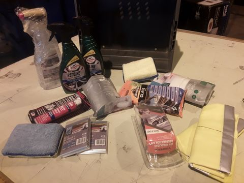 TRAY OF ASSORTED ITEMS, 2 × TURTLE WAX WHEEL CLEANERSM 2 × HI VIZ WAISTCOATS, HEADLIGHT RESTORER KIT, GLASS WIPES, 2 × FIRST AID KITS, 2 × FOIL BLANKETS, (TRAY NOT INCLUDED)