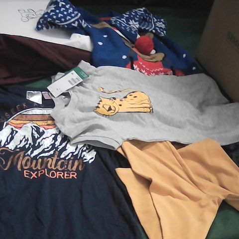 BOX OF ASSORTED BOYS CLOTHING TO INCLUDE TROUSERS, JUMPERS SLIPPERS