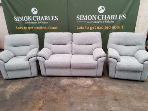 QUALITY GPLAN SEATTLE NEPTUNE SKYE FABRIC FIXED LOUNGESUITE, COMPRISING, 2.5 SEATER SOFA & PAIR EASY CHAIRS