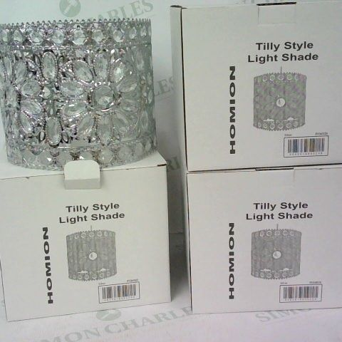 3 X TILLY STYLE LIGHT SHADE HOMION IN SILVER