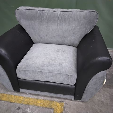 DESIGNER BLACK FAUX LEATHER & GREY FABRIC EASY CHAIR