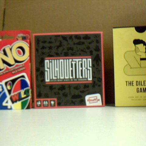 SILHOUETTERS GAMES, THE DILEMMAS GAME AND UNO