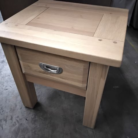 WINDSOR OAK SQUARE DISPLAY SIDE TABLE WITH DRAWER