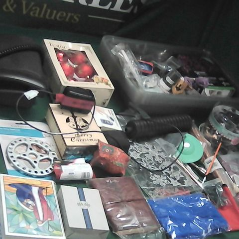 2 LARGE BOXES OF ASSORTED HOMEWARE ITEMS TO INCLUDE BAUBLES, PHONE, LED STING LIGHTS