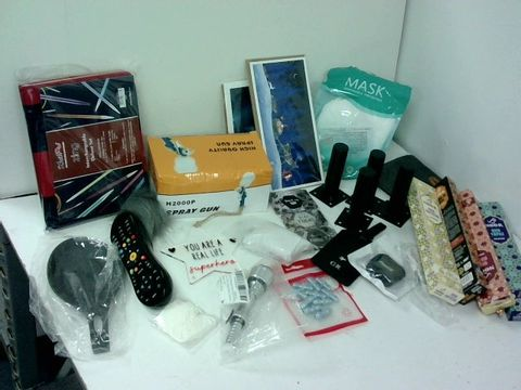 SMALL BOX OF ASSORTED HOMEWARE ITEMS TO INCLUDE SPRAY GUN, INCENSE STICKS, VIRGIN INFINITY REMOTE