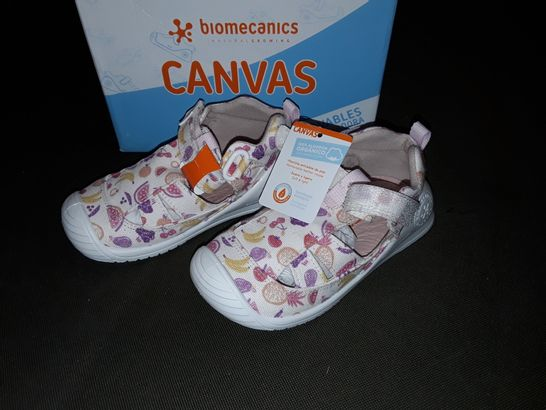 BOXED PAIR OF BIOMECHANICS CANVAS SHOES WITH FRUIT DESIGN - UK 7