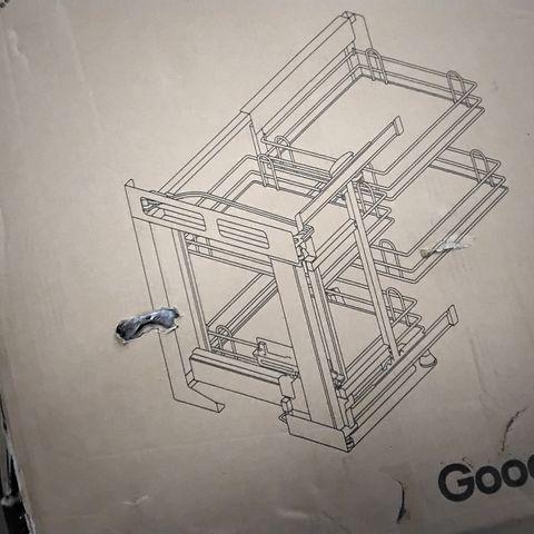 BOXED PEBRE 80CM LEFT HANDED CORNER SPACE STORAGE UNIT 63.9CM X 48.9CM