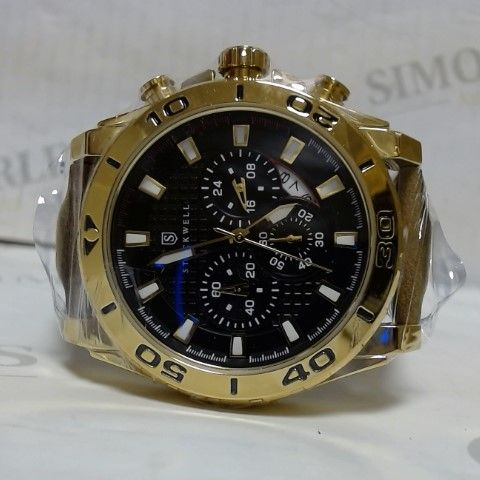 DESIGNER STOCKWELL LEATHER STRAP GOLD COLOUR CHRONOGRAPH STYLE SPORTS WRISTWATCH