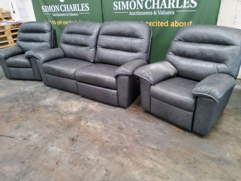 QUALITY G PLAN DINTON REGENT CHARCOAL LEATHER WITH GREY PIPING POWER RECLINING LOUNGE SUITE, COMPRISING, THREE SEATER SOFA, EASY CHAIR & DUAL ELEVATING EASY CHAIR