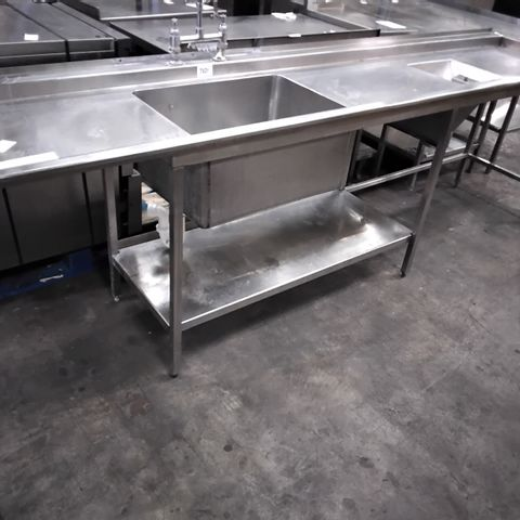 COMMERCIAL METAL WASH TABLE WITH SINGLE SINK, MIXER & SPRAY TAP & WASTE FOOD SHOOT 290cm
