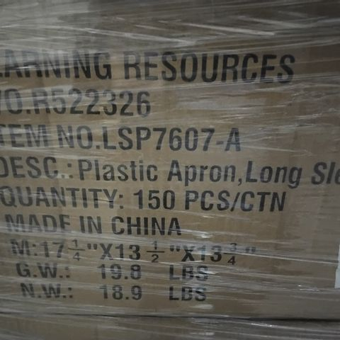 PALLET OF 26 CASES, EACH CONTAINING 150 PLASTIC APRONS LONG SLEEVED
