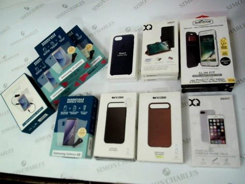 BOX OF 16 ASSORTED BRAND NEW ITEMS TO INCLUDE: ESSENTIALS BUNDLES FOR SAMSUNG J3, ESSENTIAL BUNDLE FOR SAMSUNG GALAXY A8, IPHONE 8 LEATHER CASES, XQISIT SLIM WALLETS FOR HUAWEI P20 ETC
