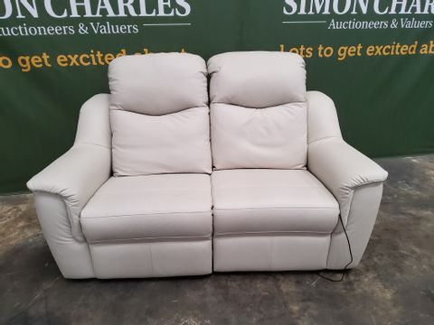 QUALITY G PLAN FIRTH OXFORD CHALK LEATHER POWER RECLINING TWO SEATER SOFA