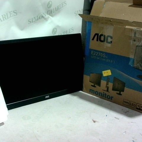 """AOC E2270SWHN 21.5"""" LED FHD (1920X1080) 5MS MONITOR. (VGA, HDMI) - BLACK"""