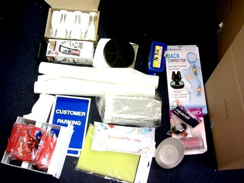 LOT OF LARGE BOX OF APPROXIMATELY 30 ITEMS TO INCLUDE: WALLPAPER, SIGNS, GLASS,BACK CORRECTOR ETC