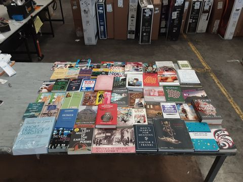 CAGE OF ASSORTED UNPROCESSED BOOKS TO INCLUDE TITLES BY CHARLES BUKOWSKI, SARAH J. MAAS, ALDOUS HUXLEY, KATE DIMCAMILLO, ETC.