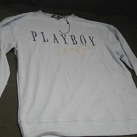 PLAYBOX X MISSGUIDED PLAYBOY LIFESTYLE BLUE JUMPER LARGE