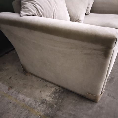 DESIGNER SILVER FABRIC TWO SEATER SOFA WITH SCATTER CUSHIONS