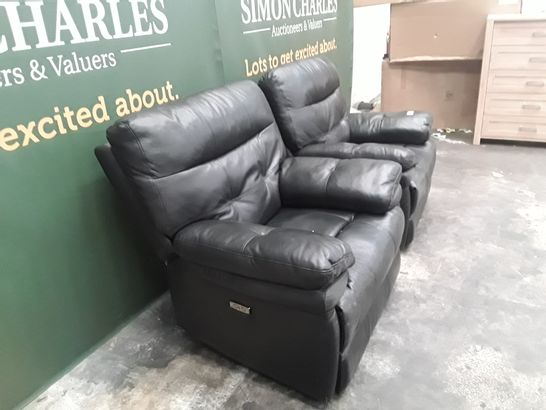 QUALITY PAIR OF BLACK FAUX LEATHER POWER RECLINING ARMCHAIRS