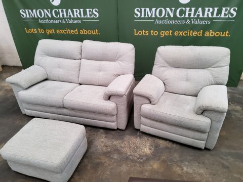 QUALITY G PLAN STANTON CHEVRON MIST FABRIC LOUNGE SUITE, COMPRISING, FIXED TWO SEATER SOFA, POWERRECLINING EADY CHAIR & STORAGE FOOTSTOOL