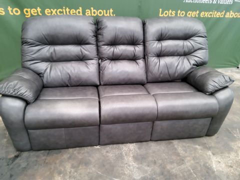 QUALITY G PLAN WEXCOMBE REGENT CHZRCOAL LEATHER THREE SEATER SOFA