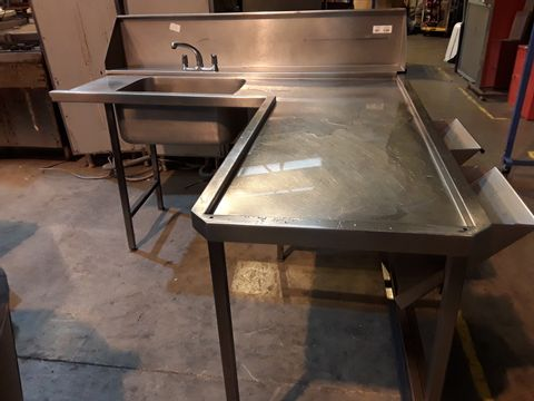 L SHAPED SINGLE BOWL SINK UNIT WITH SPLASHBACK, MIXER TAP & 2 FOOD WASTE SHUTES