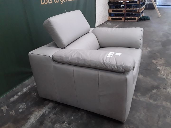 DESIGNER GREY FAUX LEATHER ARMCHAIR WITH ADJUSTABLE HEADRESTS